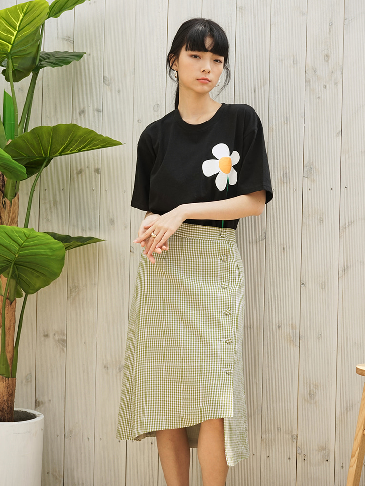 TO2-LINEN MIDI SKIRT GREEN