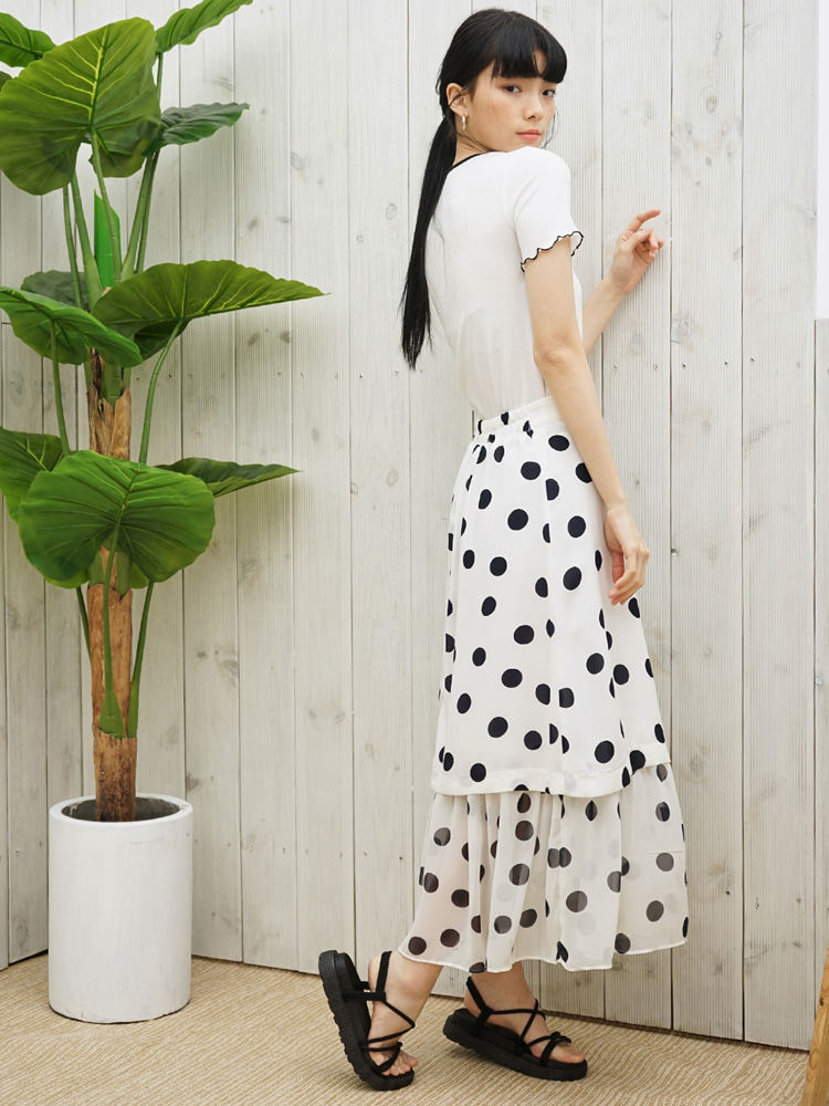TO2-DOT SHIRRING SKIRT WHITE